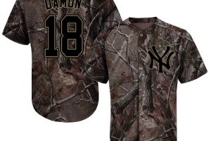 Yankees #18 Johnny Damon Camo Realtree Collection Cool Base Stitched MLB Jersey